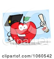 Royalty Free Vector Clip Art Illustration Of A Student Apple Holding A Diploma 2