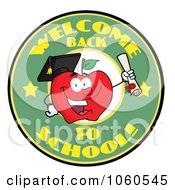 Royalty Free Vector Clip Art Illustration Of A Welcome Back To School Circle And Student Apple Holding A Diploma 1