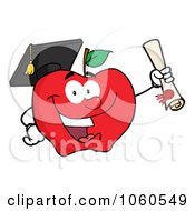 Royalty Free Vector Clip Art Illustration Of A Student Apple Holding A Diploma 1