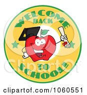 Royalty Free Vector Clip Art Illustration Of A Welcome Back To School Circle And Student Apple Holding A Diploma 2