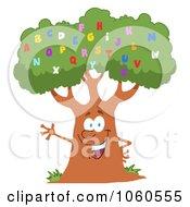 Royalty Free Vector Clip Art Illustration Of A Friendly Alphabet Tree Waving