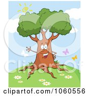 Royalty Free Vector Clip Art Illustration Of A Friendly Tree Waving On A Hill by Hit Toon