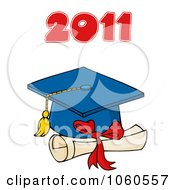 Royalty Free Vector Clip Art Illustration Of A Blue Graduation Cap And Tassel With 2011