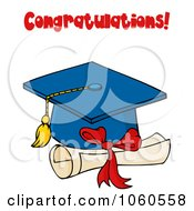 Royalty Free Vector Clip Art Illustration Of A Blue Graduation Cap And Tassel With Congratulations