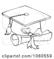 Royalty Free Vector Clip Art Illustration Of An Outlined Graduation Cap And Diploma
