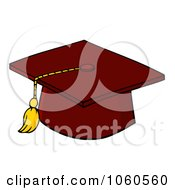 Royalty Free Vector Clip Art Illustration Of A Red Graduation Cap And Tassel