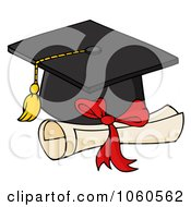 Royalty Free Vector Clip Art Illustration Of A Black Graduation Cap And Diploma by Hit Toon