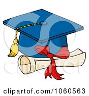 Royalty Free Vector Clip Art Illustration Of A Blue Graduation Cap And Diploma
