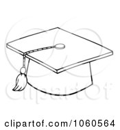 Royalty Free Vector Clip Art Illustration Of An Outlined Graduation Cap And Tassel