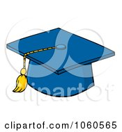 Royalty Free Vector Clip Art Illustration Of A Blue Graduation Cap And Tassel