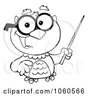 Royalty Free Vector Clip Art Illustration Of An Outlined Professor Owl Holding A Pointer Stick