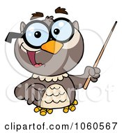 Royalty Free Vector Clip Art Illustration Of A Professor Owl Holding A Pointer Stick 2