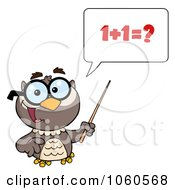 Royalty Free Vector Clip Art Illustration Of A Professor Owl Holding A Pointer Stick And Teaching Math 1