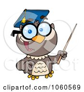 Royalty Free Vector Clip Art Illustration Of A Professor Owl Holding A Pointer Stick 1 by Hit Toon
