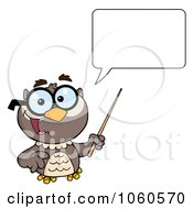 Royalty Free Vector Clip Art Illustration Of A Talking Professor Owl Holding A Pointer Stick