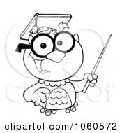 Royalty Free Vector Clip Art Illustration Of An Outlined Teacher Owl Holding A Pointer Stick