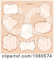 Royalty Free Vector Clip Art Illustration Of A Digital Collage Of Pretty Beige Labels On Stripes