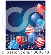 Royalty Free Vector Clip Art Illustration Of A Blue Burst Background With American Balloons by Pushkin