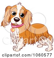 Royalty Free Vector Clip Art Illustration Of A Cocker Spaniel With A Pink Collar And Heart Tag by Pushkin