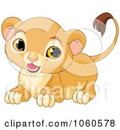 Royalty Free Vector Clip Art Illustration Of A Cute Lion Cub Crouching by Pushkin