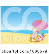 Royalty Free Vector Clip Art Illustration Of A Lounge Chair And Umbrella On A Summer Beach by Pushkin