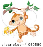 Royalty Free Vector Clip Art Illustration Of A Cute Monkey Hanging From A Branch With A Banana In Hand