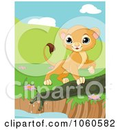 Royalty Free Vector Clip Art Illustration Of A Proud Lion Cub Walking Around A Pond