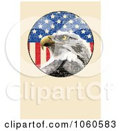 Royalty Free Vector Clip Art Illustration Of A Beige Page With An American Eagle And Flag by Pushkin