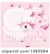 Royalty Free Vector Clip Art Illustration Of A Pink Pony And Butterfly Frame by Pushkin