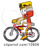 Clipart Picture Of A Paint Brush Mascot Cartoon Character Riding A Bicycle by Toons4Biz