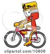 Paint Brush Mascot Cartoon Character Riding A Bicycle