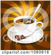 Royalty Free Vector Clip Art Illustration Of A 3d Coffee With Beans Over Brown Rays by Oligo