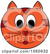 Royalty Free Vector Clip Art Illustration Of An Orange Cat Face by Pams Clipart