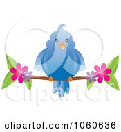 Royalty Free Vector Clip Art Illustration Of A Chubby Blue Bird On A Blossoming Branch