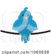 Royalty Free Vector Clip Art Illustration Of A Chubby Blue Bird On A Wire 2