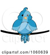 Royalty Free Vector Clip Art Illustration Of A Chubby Blue Bird On A Wire 1