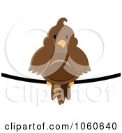Royalty Free Vector Clip Art Illustration Of A Chubby Brown Bird On A Wire