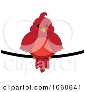 Royalty Free Vector Clip Art Illustration Of A Chubby Red Cardinal Bird On A Wire