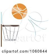 Royalty Free Vector Clip Art Illustration Of A Basketball Flying Towards A Hoop