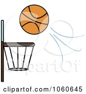 Royalty Free Vector Clip Art Illustration Of A Ball Flying Towards A Basketball Hoop