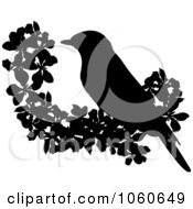 Royalty Free Vector Clip Art Illustration Of A Silhouetted Bird And Blossoms by Pams Clipart