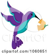 Royalty Free Vector Clip Art Illustration Of A Purple And Turquoise Hummingbird With Trumpet Flowers by Pams Clipart