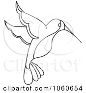Royalty Free Vector Clip Art Illustration Of An Outlined Hummingbird by Pams Clipart #COLLC1060654-0007