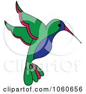 Blue Green And Red Hummingbird - 1