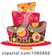 Royalty Free Vector Clip Art Illustration Of A Funky Three Tiered Cake 3
