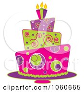Royalty Free Vector Clip Art Illustration Of A Funky Three Tiered Cake 1