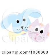 Royalty Free Vector Clip Art Illustration Of A Cat And A Dog With A Bone 3 by Pams Clipart
