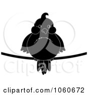 Royalty Free Vector Clip Art Illustration Of A Chubby Silhouetted Bird On A Wire by Pams Clipart