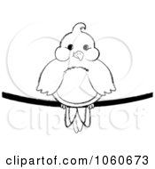 Royalty Free Vector Clip Art Illustration Of A Chubby Outlined Bird On A Wire