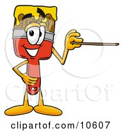 Clipart Picture Of A Paint Brush Mascot Cartoon Character Holding A Pointer Stick by Toons4Biz